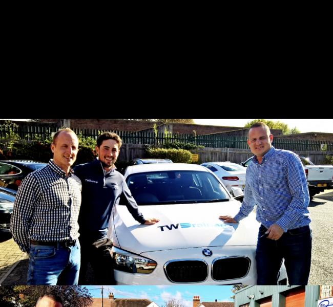 Professional golfer Alfie Plant with a TW Drainage-branded BMW