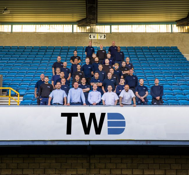 the tw drainage team in the millwall football club stands