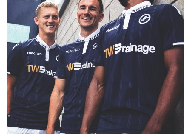 millwall players wearing tw drainage branded football kit